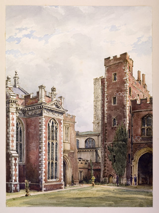 View of the library and great gateway at Lambeth Palace.