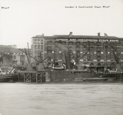 Thames Riverscape showing London and Continental Steam Wharf: 1937