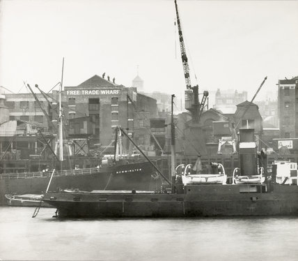 Thames Riverscape showing the Free Trade Wharf: 1937