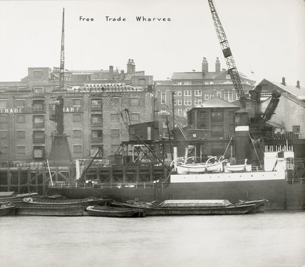 Thames Riverscape showing Free Trade Wharf: 1937