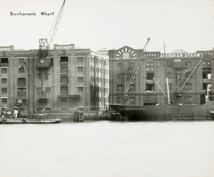 Thames Riverscape showing Buchanan's Wharf; 1937