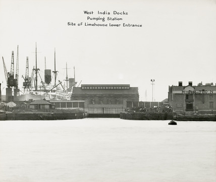 Thames Riverscape showing West India Docks Pumping Station; 1937