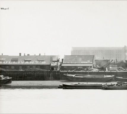 Thames Riverscape showing Stronghold Wharf and Bullivant Wharf; 1937