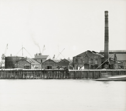 Thames Riverscape showing Winkley's Wharf and Edward Le Bas & Co factory; 1937