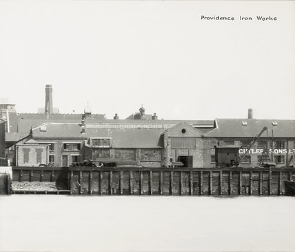 Thames Riverscape showing Providence Iron works; 1937