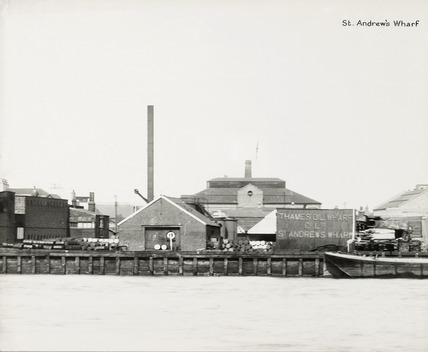 Thames Riverscape showing St. Andrew's Wharf; 1937