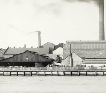 Thames Riverscape showing Burrell's Wharf and Maconochie's Wharf: 1937