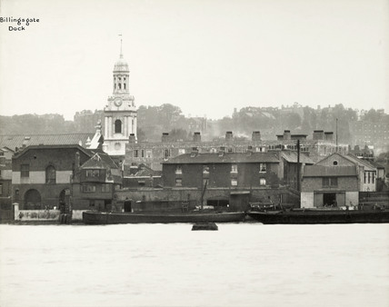 Thames Riverscape showing Billingsgate Dock: 1937