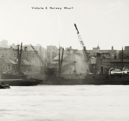 Thames Riverscape showing Victoria and Norway Wharf: 1937