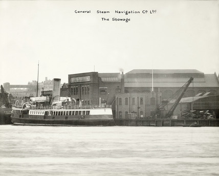 Thames Riverscape showing the General Steam Navigation Co. Ltd. and The Stowage: 1937