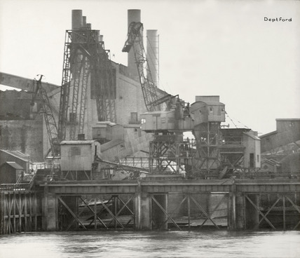 Thames Riverscape showing Deptford Power Station: 1937