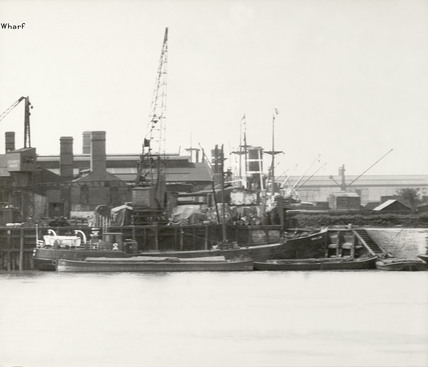 Thames Riverscape showing St. George's Dock: 1937