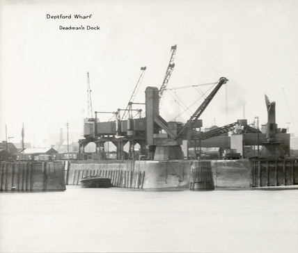Thames Riverscape showing Deptford Wharf, Deadman's Dock : 1937