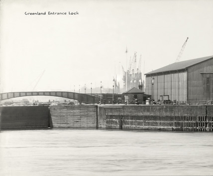 Thames Riverscape showing Greenland Entrance Dock: 1937