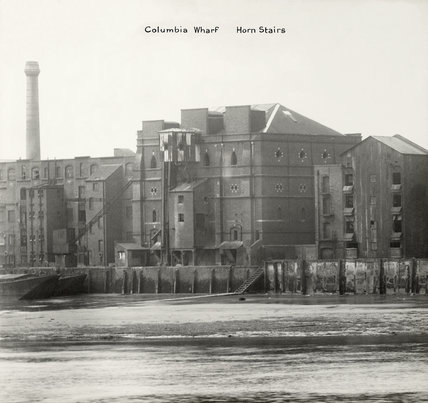 Thames Riverscape showing Columbia Wharf and Horn Stairs; 1937