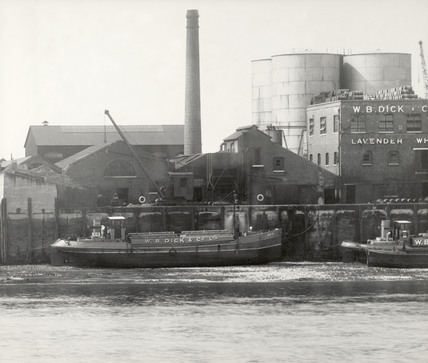 Thames Riverscape showing Lavender Wharf: 1937