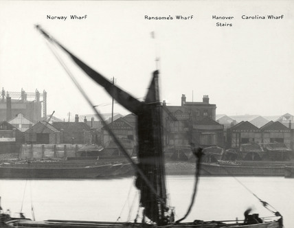 Thames Riverscape showing Norway Wharf, Ransome's Wharf, Hanover Stairs and Caroline Wharf : 1937