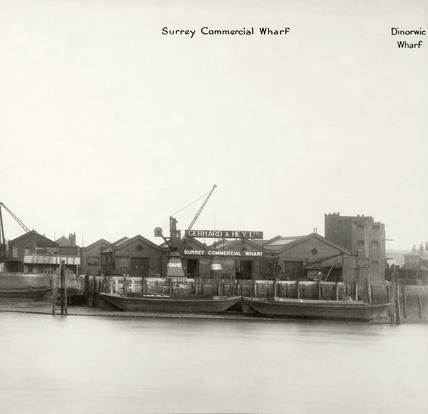 Thames Riverscape showing Surrey Commercial Wharf : 1937