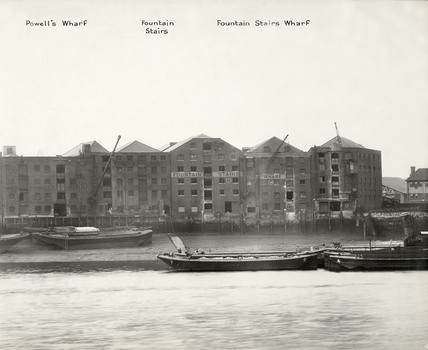 Thames Riverscape showing Powell's Wharf, Fountain Stairs and Wharf: 1937