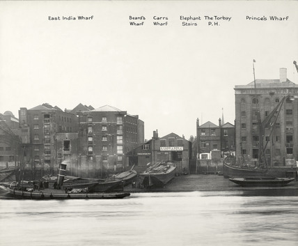 Thames Riverscape showing East India Wharf - Prince's Wharf; 1937