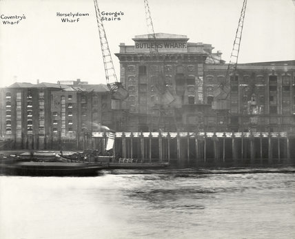 Thames Riverscape showing Coventry's Wharf, Horselydown Wharf, George's Stairs and Butlers Wharf: 1937