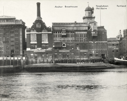 Thames Riverscape showing Anchor Brewhouse, Horsleydown Old Stairs and Portland Wharf: 1937