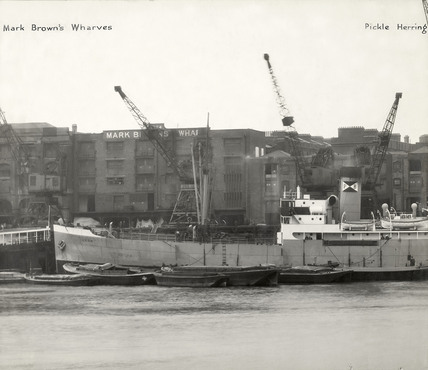 Thames Riverscape showing Mark Brown's Wharves and Pickle Herring Wharf: 1937