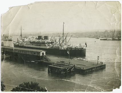 Royal Mail Lines vessel at Tilbury Landing Stage: c. 1935