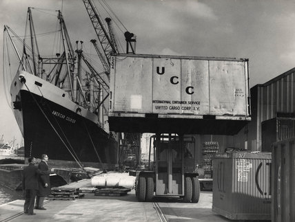 Container cargoes, Royal Victoria Dock: 1964