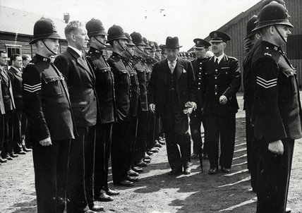 Sir John Anderson inspecting PLA police recruits: 1946