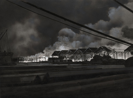 Blaze at Commercial Docks: 1940