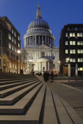 Night time view of the south side of St. Pauls Cathedral; 2008