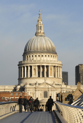 View of St. Pauls Cathedral from the Millennium Bridge; 2007