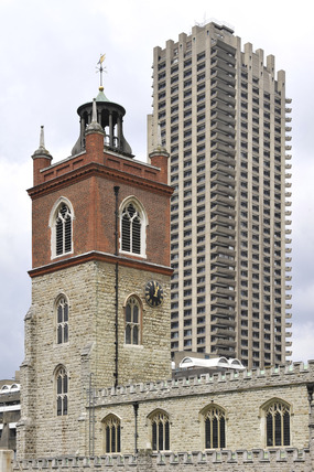 St Giles Church and one of the Barbican Towers; 2007