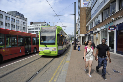 Buses and Trams in Croydon Town Centre; 2009