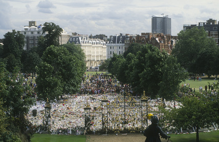 Floral tributes laid in the gardens of Kensington Palace after the death of Diana, Princess of Wales, 31st August 1997