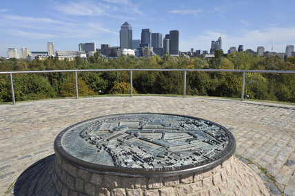 View of Canary Wharf from Stave Hill; 2009