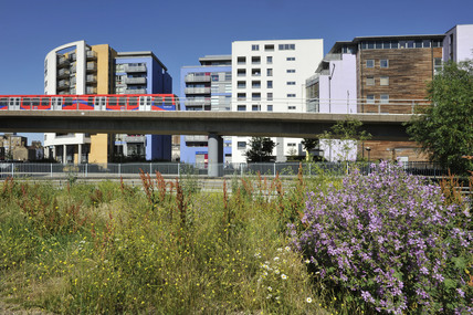 View of contemporary housing and The Docklands Light Railway, Deptford; 2009