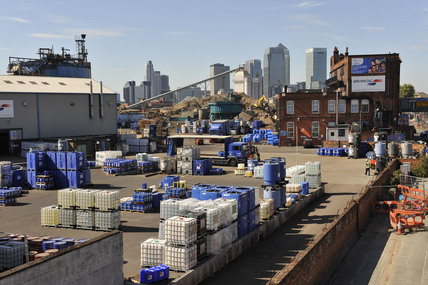 View across Delta Wharf to Canary Wharf; 2009