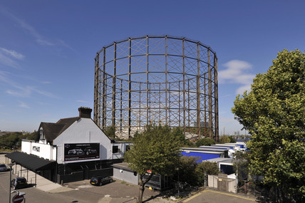 The gasometer on the Greenwich Peninsula; 2009