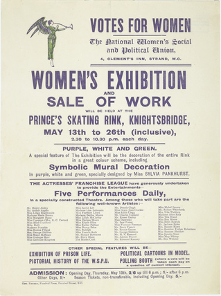 Notice for the 'Women's Exhibition and Sale of Work': 1909