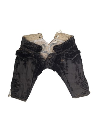 Black silk velvet breeches for artist's lay figure: 18th century
