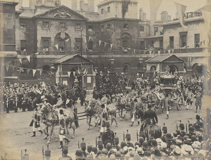 The Coronation Procession of King Edward VII outside Horse Guards, Whitehall