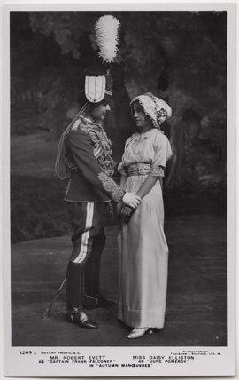 Robert Evett as Captain Frank Falconer and Daisy Elliston as June Pomeroy in 'Autumn Manoeuvres'