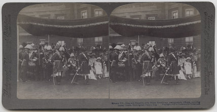 'Edward VII, King and Emperor, with Royal Family and distinguished Officers, honoring Indian Guests, Buckingham Palace, England'