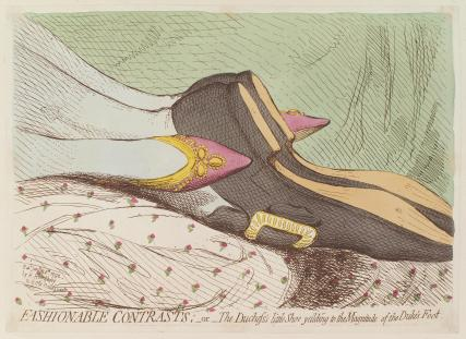 'Fashionable contrasts; - or - the Duchess's little shoe yeilding to the magnitude of the Duke's foot'