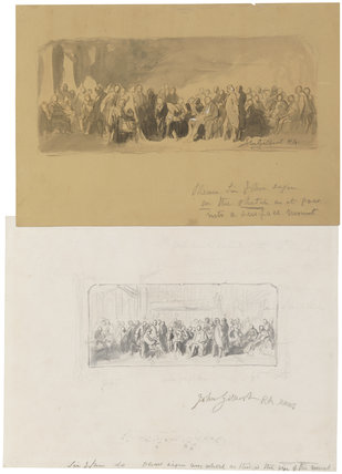 'Two sketches for 'Men of Science Living in 1807-8'