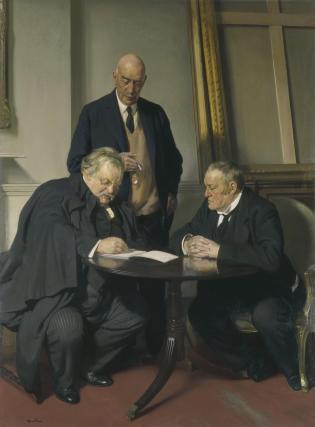 Conversation piece (G.K. Chesterton; Maurice Baring; Hilaire Belloc)