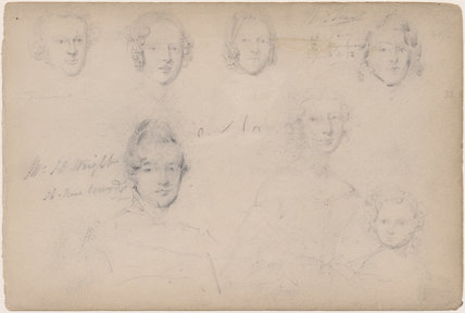 Mr H. Wright and six unknown sitters including a mother and child