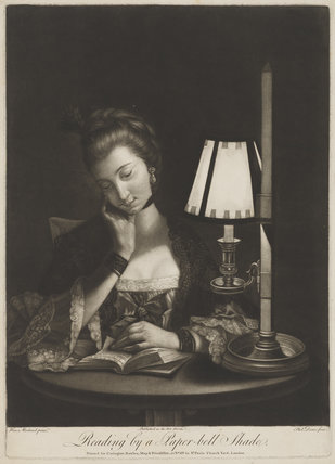 Reading by a Paper-bell Shade (Unknown woman)
